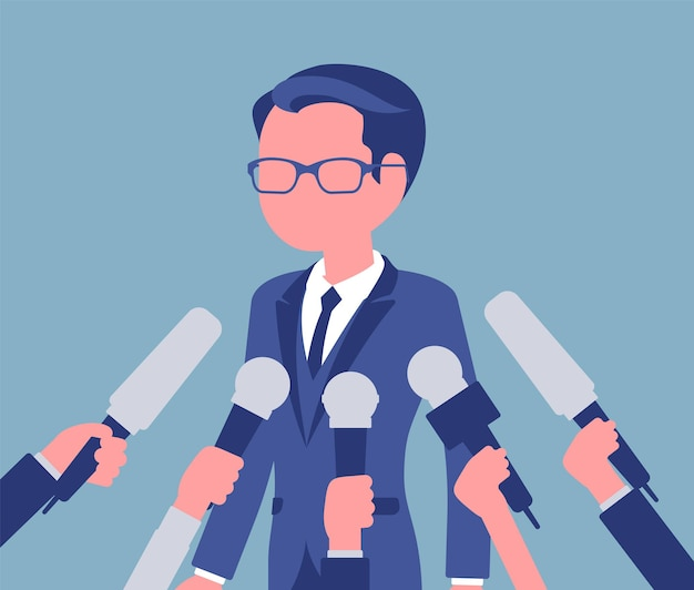 Tv interview microphones, broadcasting male speech. popular young man recording opinion, business, political celebrity gives comments for news, reportage. vector illustration, faceless character