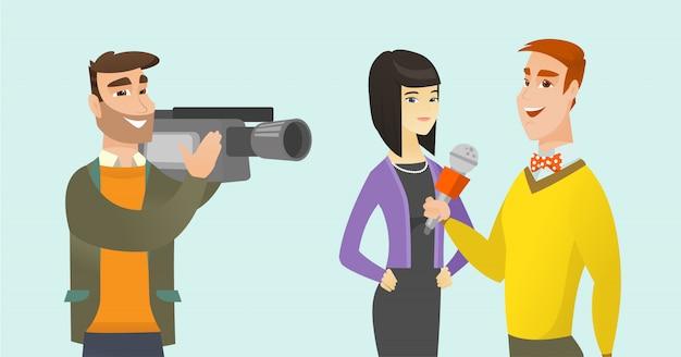 Tv interview vector cartoon illustration.