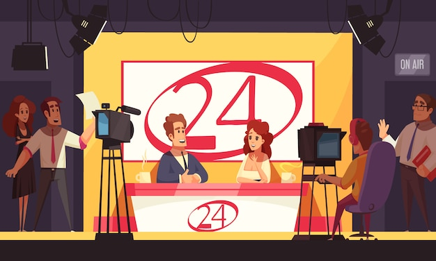 Tv live events breaking news politics 24 hours broadcasting cartoon composition with reporters in studio