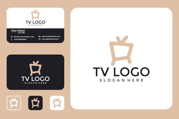 Tv 로고 디자인 로고와 명함