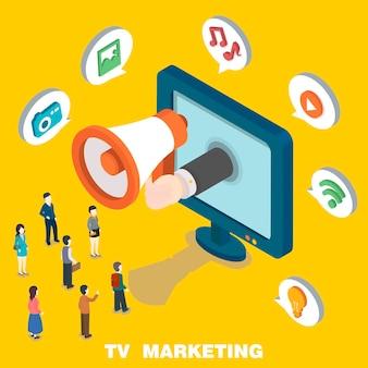 Tv marketing concept in 3d isometric flat design