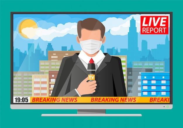 Tv news anchorman reads world news