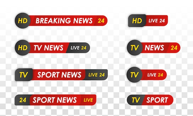 Tv news bar. sport news. television broadcast media.