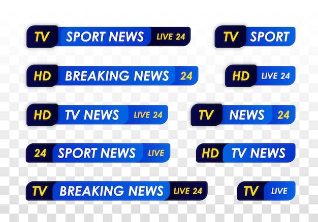 Tv 뉴스 바. 텔레비전 방송 미디어 제목 배너. 라이브 tv 방송, 스트리밍 쇼. 스포츠 뉴스