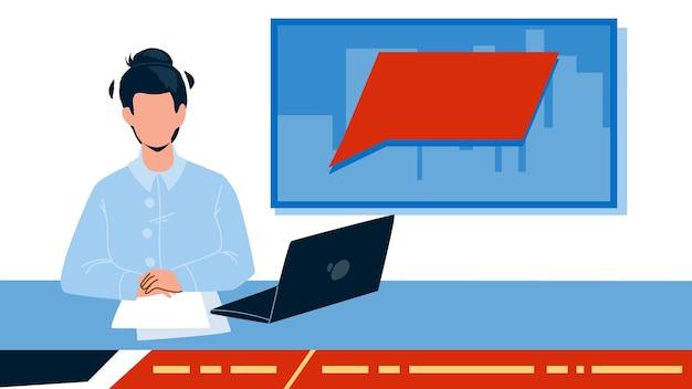 Телеведущий в вектор студии телевидения. читалка, представляющая телевизионные новости, ноутбуки и бумажные списки на рабочем месте стола. персонаж социального работника вещания плоский мультфильм иллюстрации