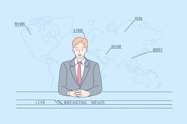 Tv news report, statistics, covid19, 2019ncov concept