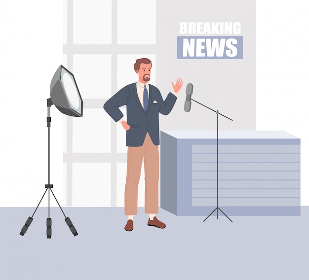 Tv news studio with broadcaster. vector illustration