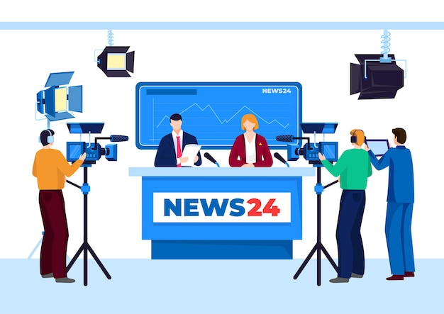 Tv news studio with television person illustration