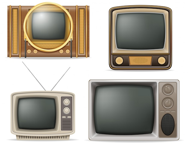 Tv old retro vintage set vector illustration