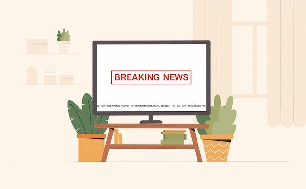Телевизор на экране, последние новости на столе в уютной комнате в современном интерьере.