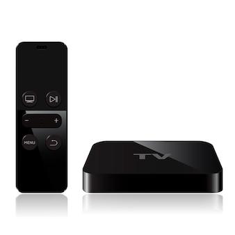 리모컨이있는 tv 플레이어 박스 장치