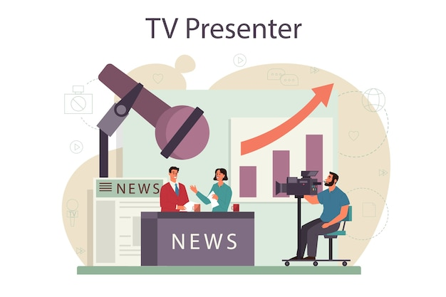 Tv presenter concept. television host in studio. broadcaster speaking