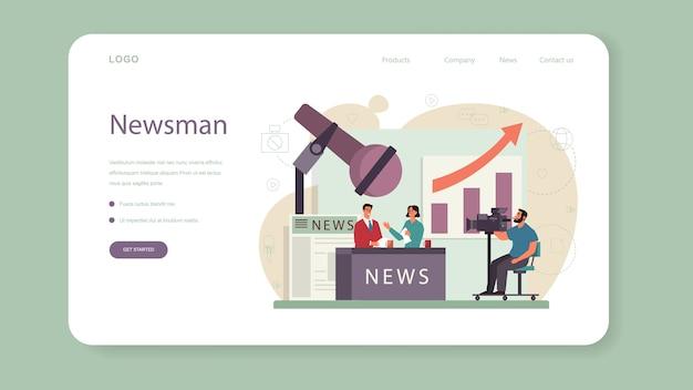 Tv presenter web banner or landing page.