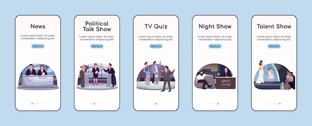 Tv programming onboarding mobile app screen flat template. television industry walkthrough website steps with characters. ux, ui, gui smartphone cartoon interface, case prints set
