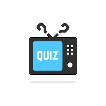 Tv quiz button with shadow. concept of faq, dialog, interview, competition, quiz show, quizzes, vote. isolated on white background. flat style trend modern quiz logo design vector illustration