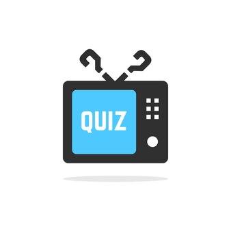 影付きのテレビクイズボタン。よくある質問、対話、インタビュー、競争、クイズショー、クイズ、投票の概念。白い背景で隔離。フラットスタイルトレンドモダンクイズロゴデザインベクトルイラスト