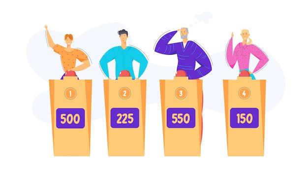 賢いキャラクターのテレビクイズ番組。難問ゲームに関する質問に答える人々。