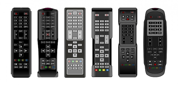 Tv remote isolated realistic set icon.