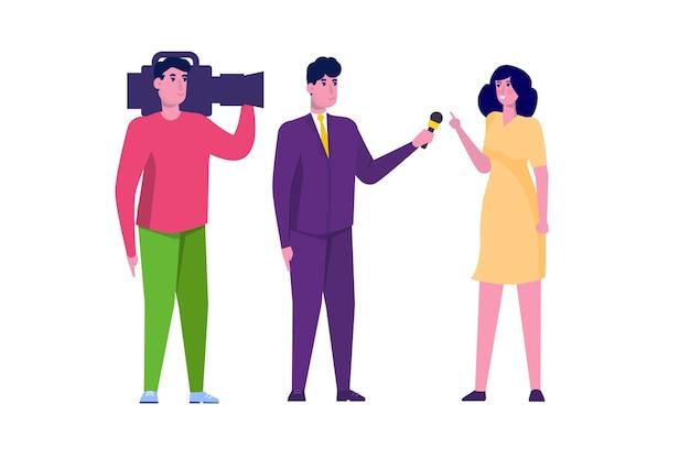 Репортер телевидения, специальный корреспондент и оператор-оператор. векторная иллюстрация.