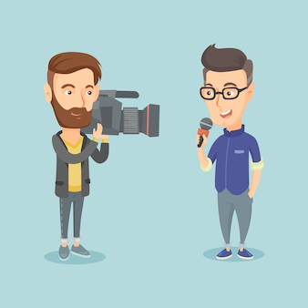 Tv reporter and operator vector illustration.