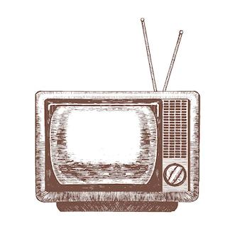Тв ретро пустой рукой рисовать эскиз старинное телевидение.