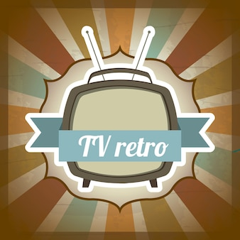 Tv retro over grunge background vector illustration