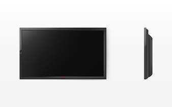 TV screen, modern black lcd panel for hdtv, wide-screen display