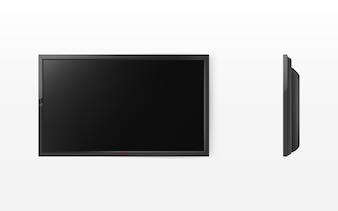 テレビ画面、HDTV用のモダンなブラック液晶パネル、ワイドスクリーンディスプレイ