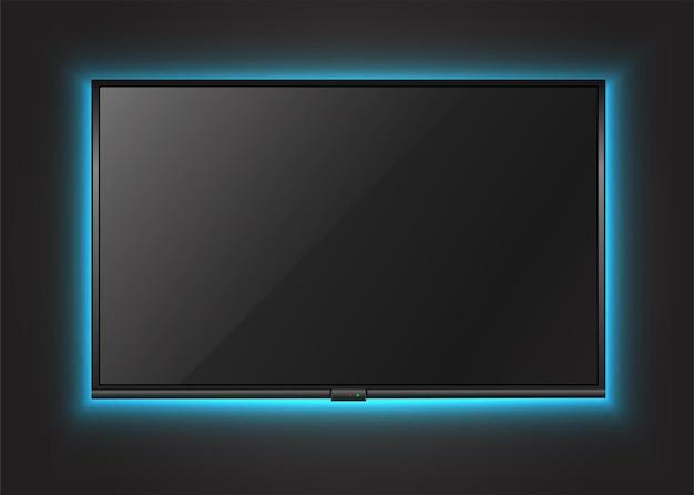 네온 불빛으로 벽에 tv 화면