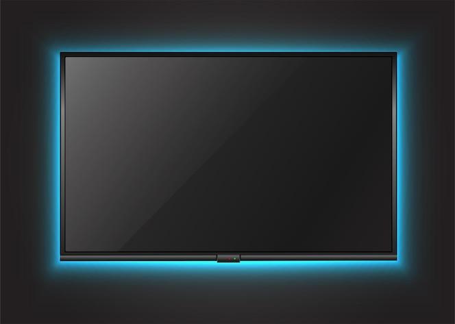 ネオンライトが付いている壁のテレビ画面