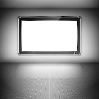Tv set on the wall in dark room