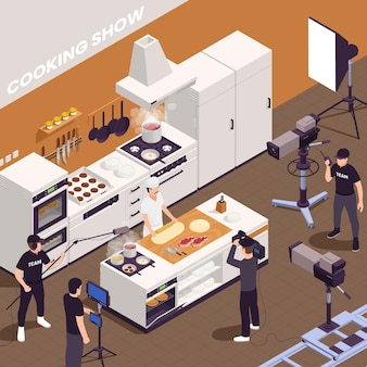 Fondo isometrico dello spettacolo televisivo con l'illustrazione dei simboli dello spettacolo di cucina