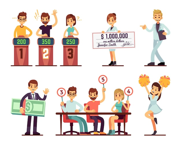 Tv show participants. people jury, showman, girl with prize bank check and rating. isolated cartoon entertainment characters, fun people and showgirl vector illustration. jury entertainment, show man