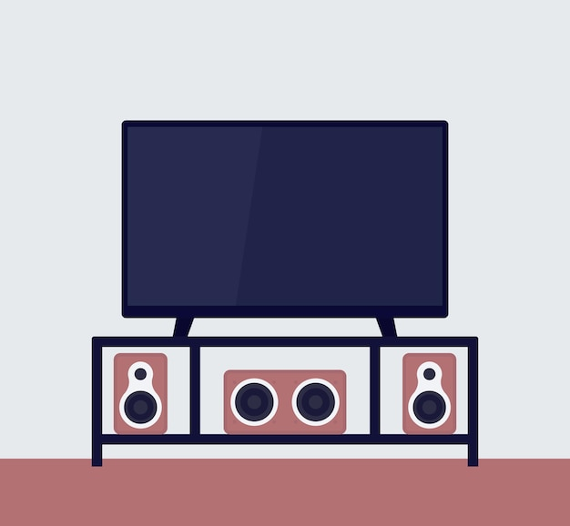 Tv on the stand with audio system, vector illustration