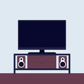 Tv on the stand with audio system, vector