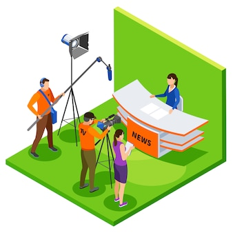 Tv studio live news in isometric with shooting crew editor and announcer talking about latest events vector illustration
