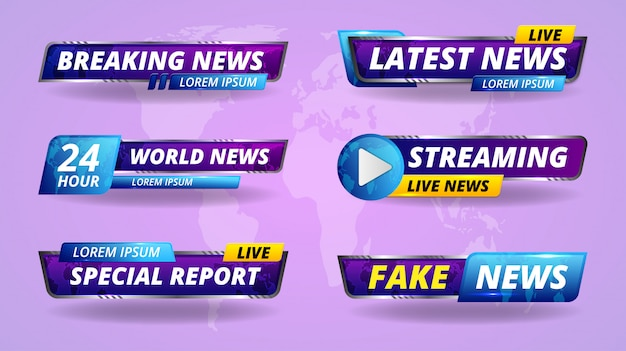 Tv title. broadcasting banner. tv streaming breaking, fake news and special report screen header.