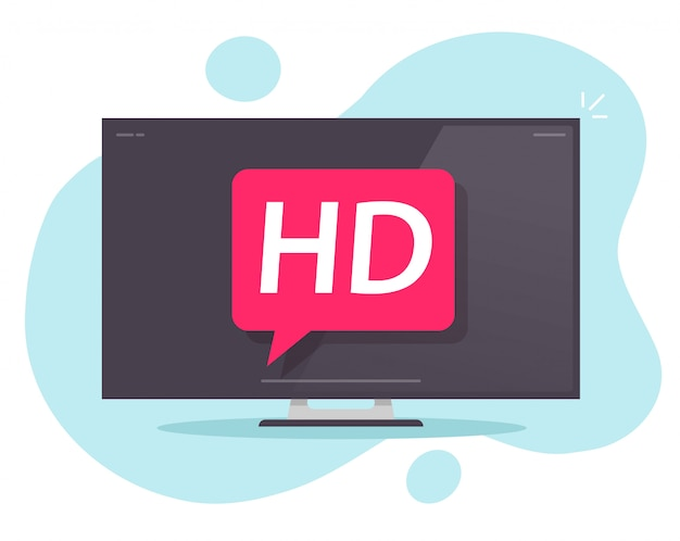 Тв вектор плоский стиль иллюстрации или hd телевизор с плоским экраном значок мультфильм современный дизайн