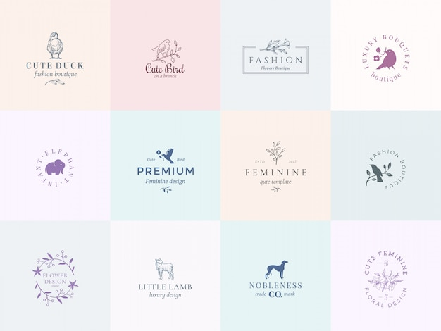 Twelve abstract feminine vector signs or logo templates set.
