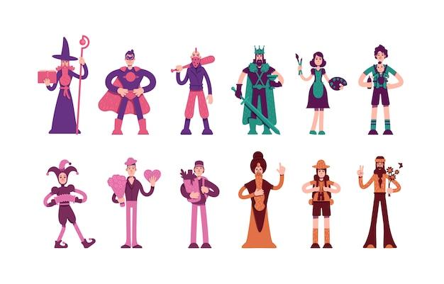 Twelve archetypes characters set