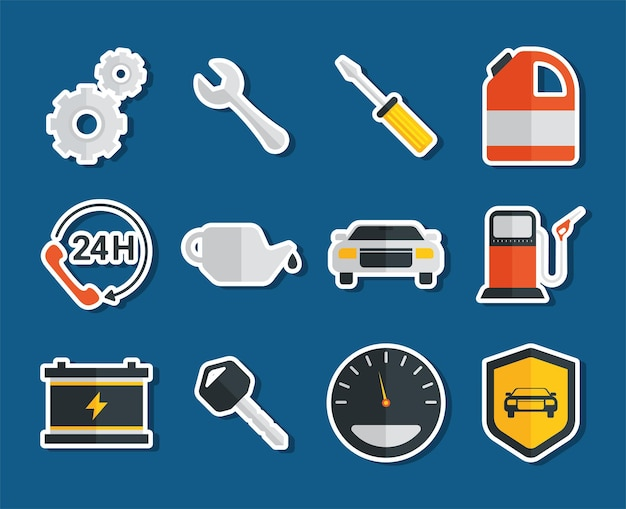Twelve car service items