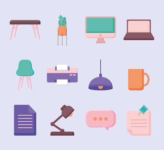 Twelve desk icons