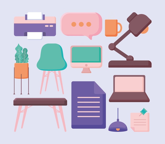 Twelve desk items