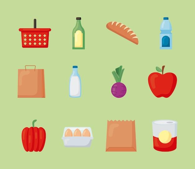 Двенадцать продуктовых магазинов набор иконок