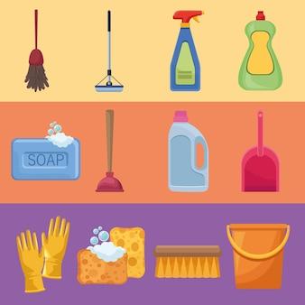 Twelve housekeeping chores icons