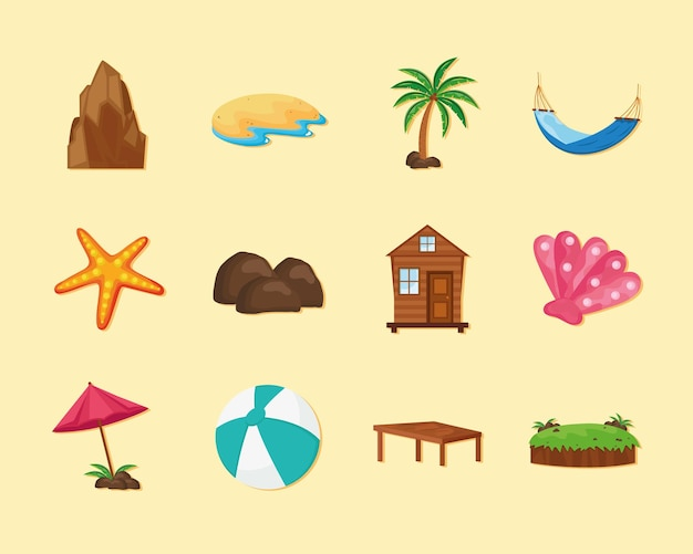 Двенадцать островных иконок
