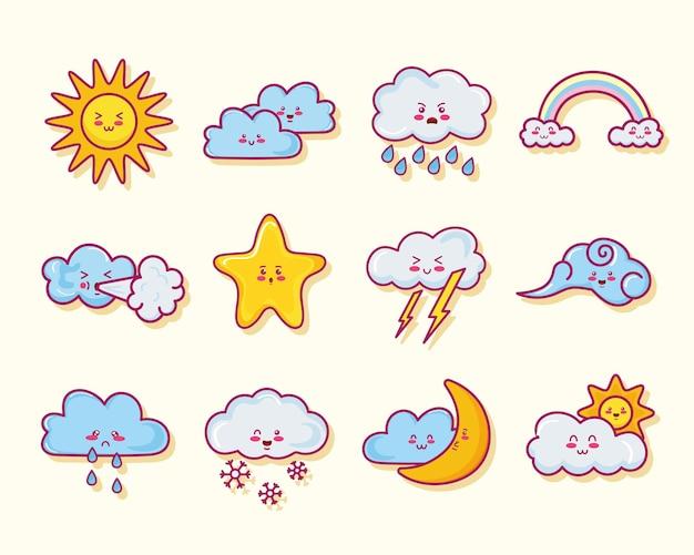 Twelve kawaii clouds characters