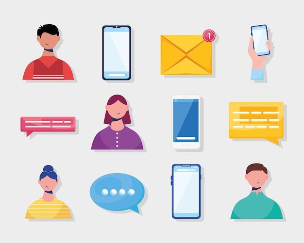 Twelve messaging communication icons