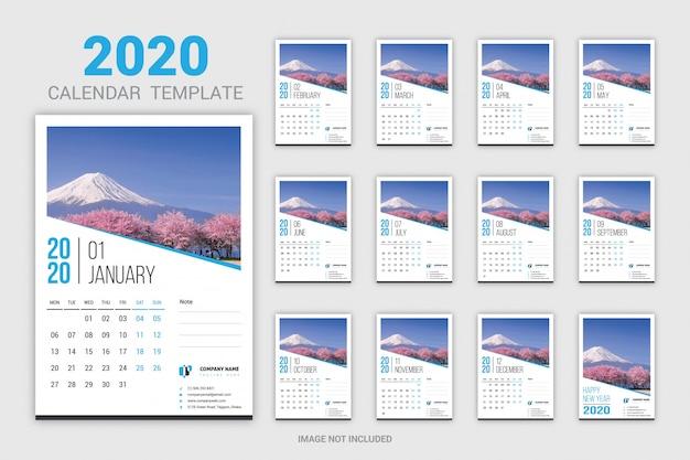 Twelve months wall calendar