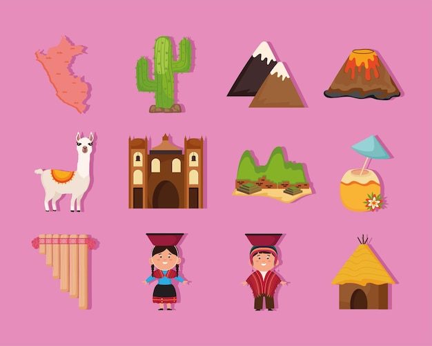 Twelve peru country icons